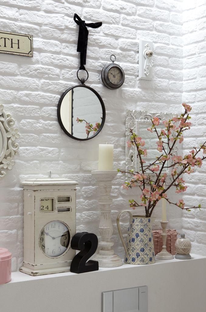 Badezimmer neu mit Kunststeinziegel in Weiss Brooklyn Umbauen - badezimmer steinwand