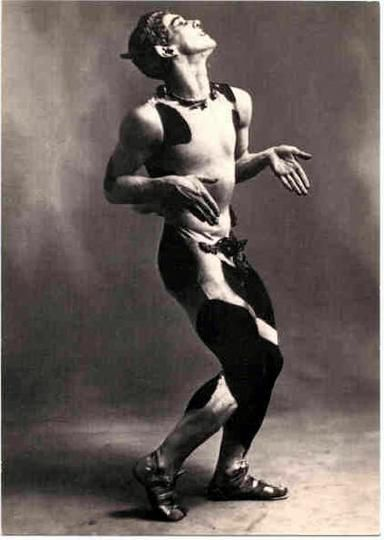 """Vaslav Nijinsky in """"L'après-midi d'un faune (Afternoon of a Faun)."""" Some consider this to be the very first contemporary piece in dance history. Very controversial at the time due to a masturbatory scene witha a scarf at the end."""
