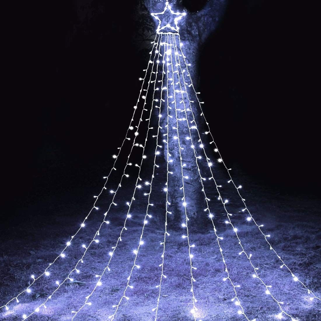 Maoyue Outdoor Christmas Decorations 335 Led Star Lights 8 Lighting Modes Outside Tree Dec Outdoor Christmas Decorations Led Star Lights Holiday Lights Outdoor