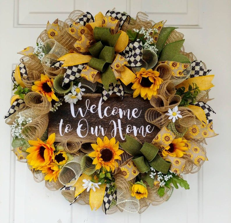 Photo of Sunflower wreath, welcome wreath, welcome to our home wreath, summer wreath, farmhouse wreath, burlap wreath, burlap welcome wreath