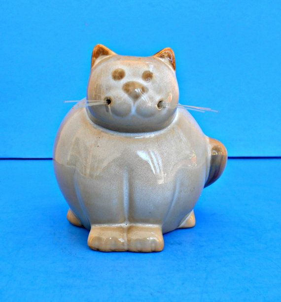 Gros chat tirelire Kitty de poterie de grès par TheOldCatHouse