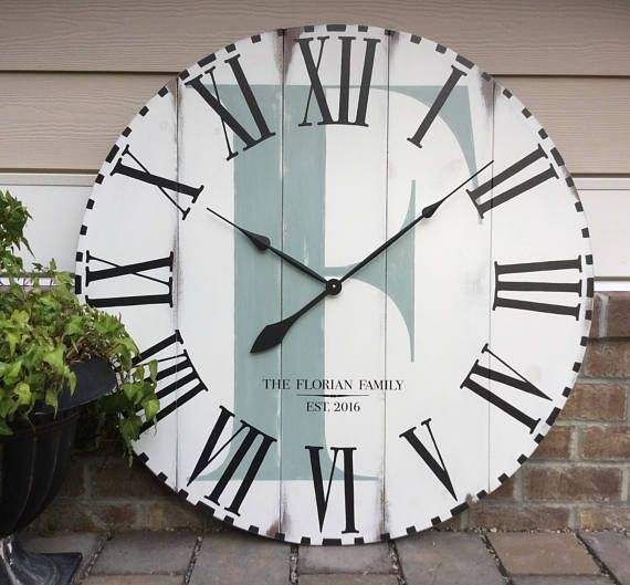 Large Wall Clock Farmhouse Decor Unique Wall Clock Funcoolwallclocks Rustic Home Decor 7th Anniversary Gift For Couple Family Name Oversized Wall Clock Large Wall Clock Custom Wall Clocks