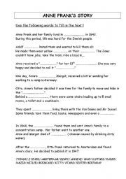 English Worksheets Anne Frank S Story
