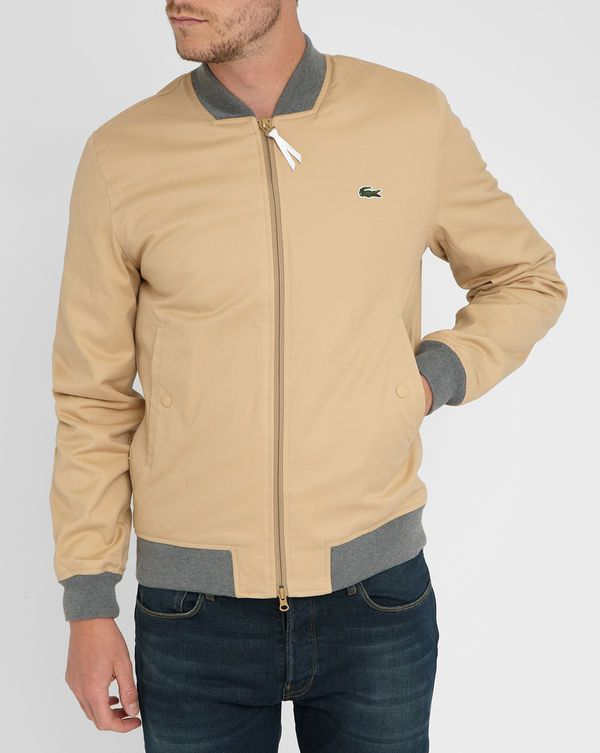 613a5acd7977f LACOSTE LIVE Beige Baseball Jacket with Grey Ribbed Collar Chamarras  Deportivas