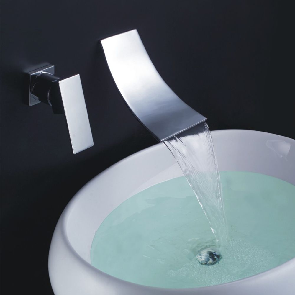 New Widespread Bathroom Sink Lavatory Faucet Wall Mounted Basin ...