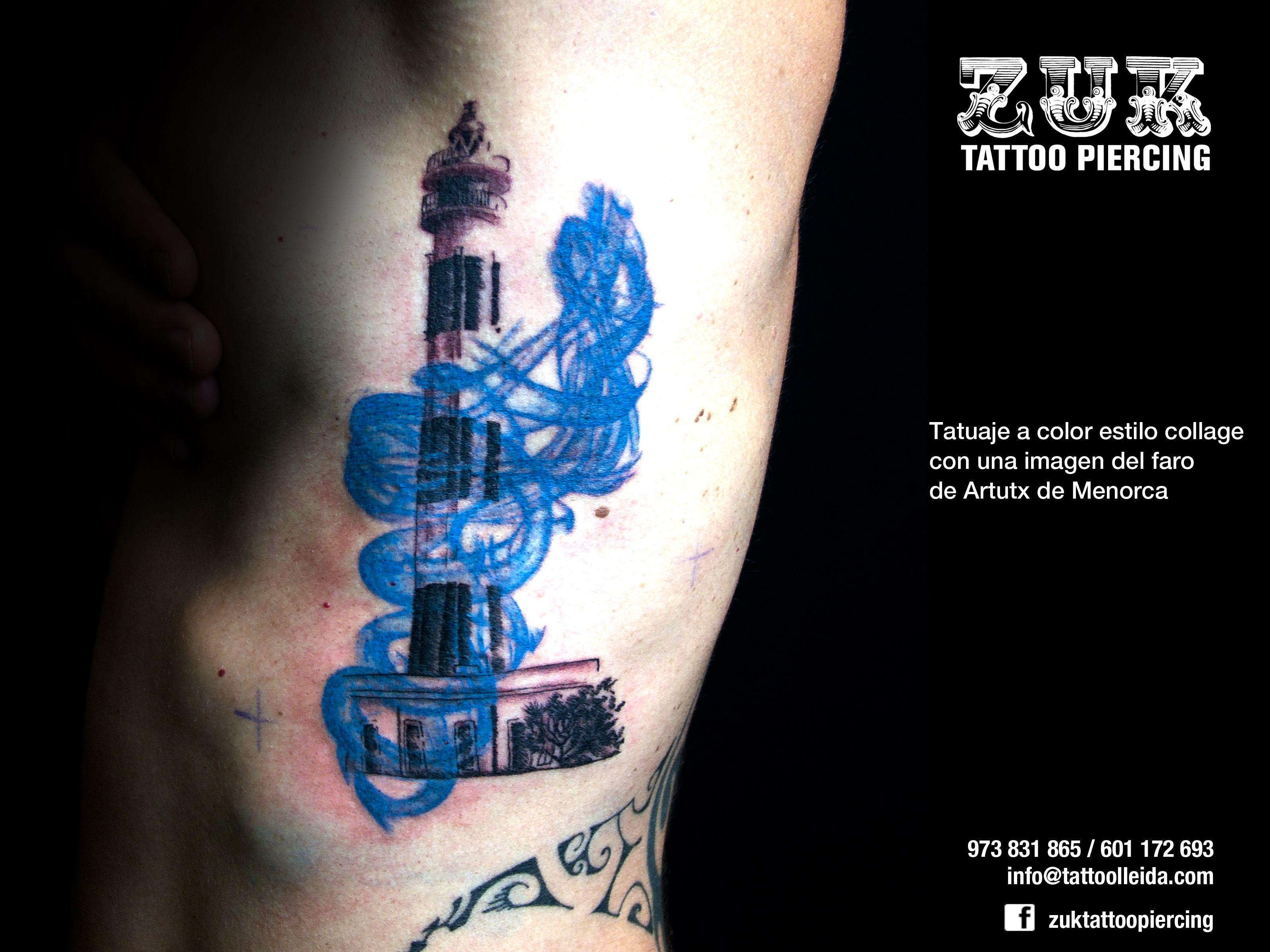Tatuaje a color estilo collage con una imagen del faro de Artutx de Menorca