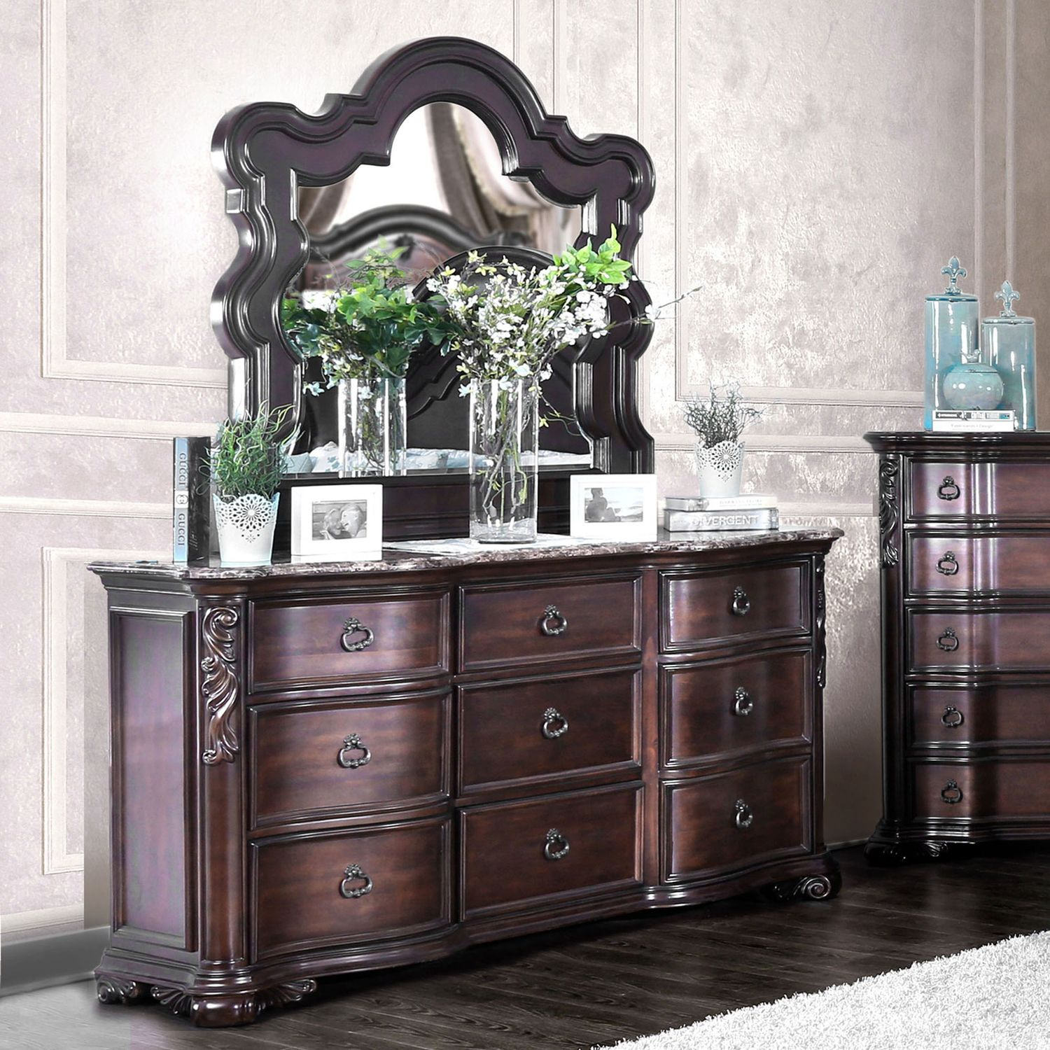 canopy bedroom sets with marble Adriana Traditional