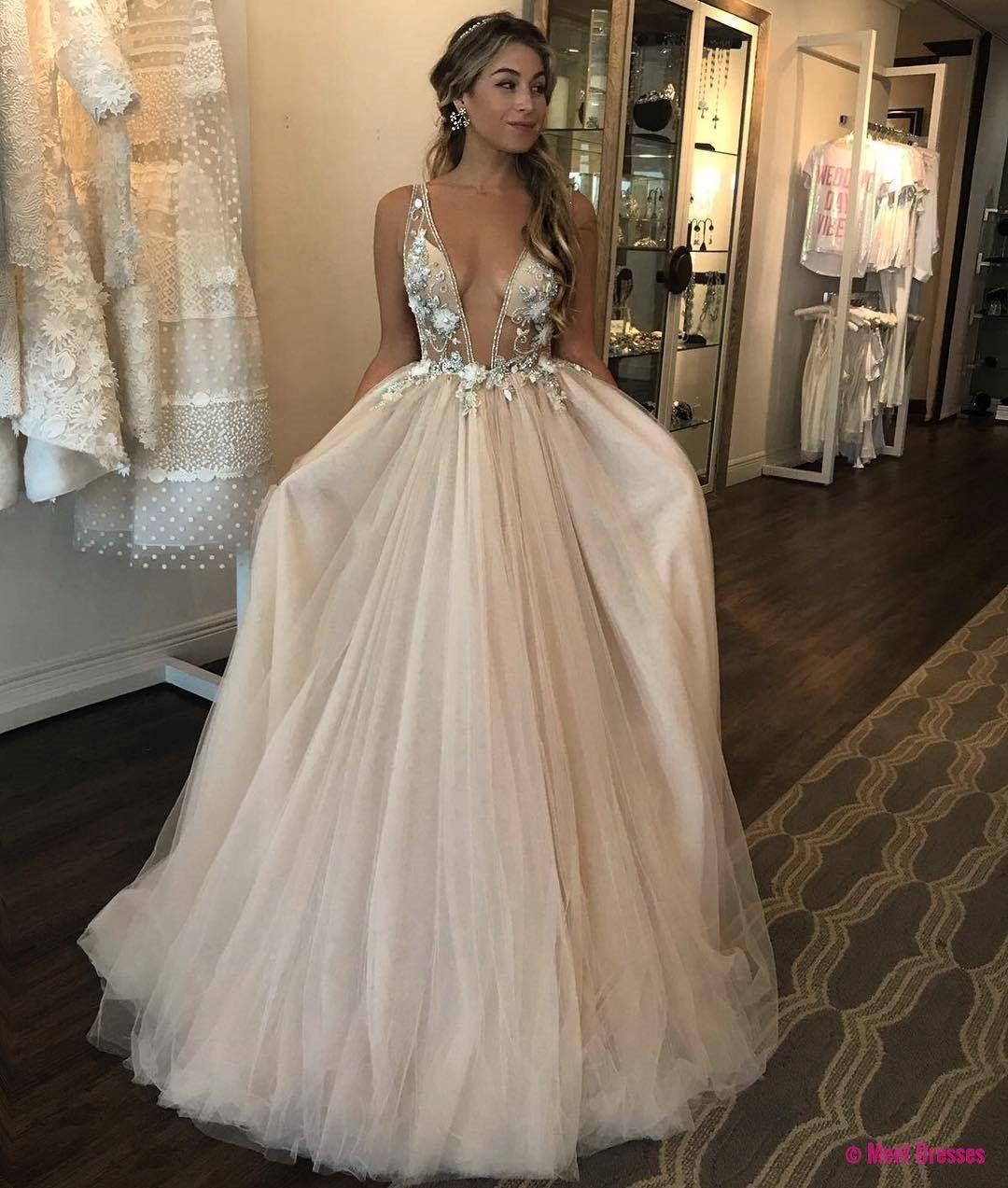 Deep vneck tulle prom dresses lace appliques women dresses