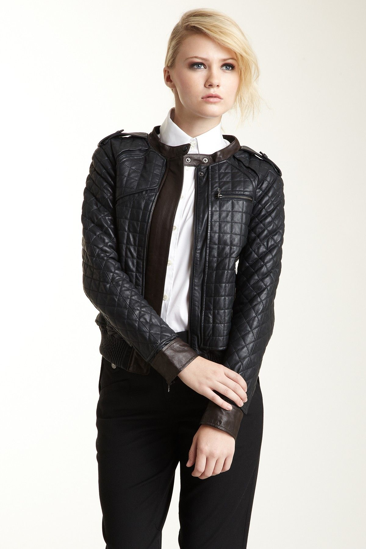 L.A.M.B. Black and Brown Quilted Leather Jacket on