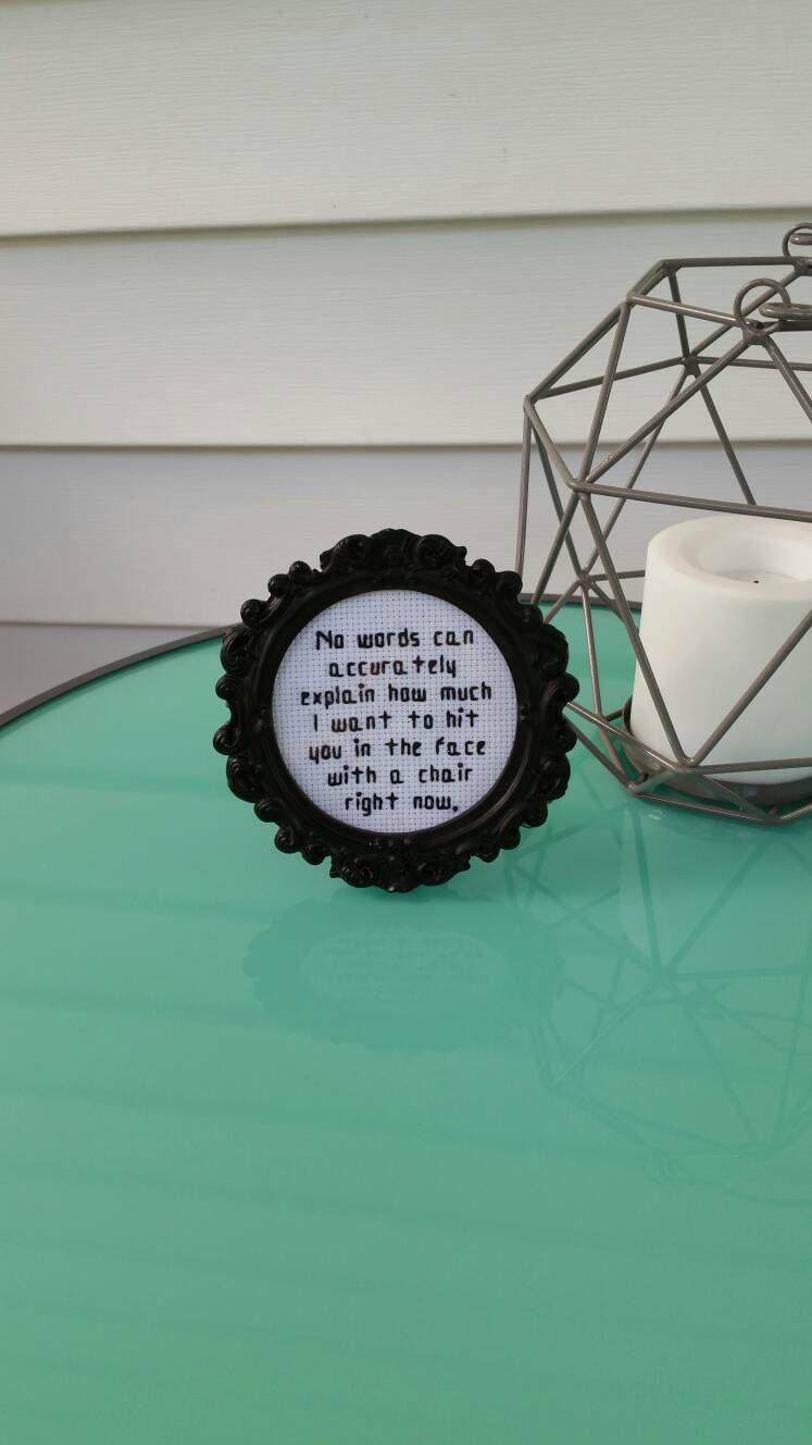 Framed Needlepoint - Funny Quote - Small Framed Art - Desk Decor ...