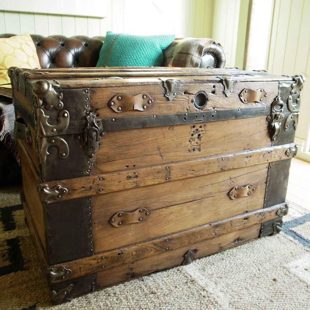 VINTAGE TRUNK dome top chest VICTORIAN STEAMER TRUNK blanket box ...