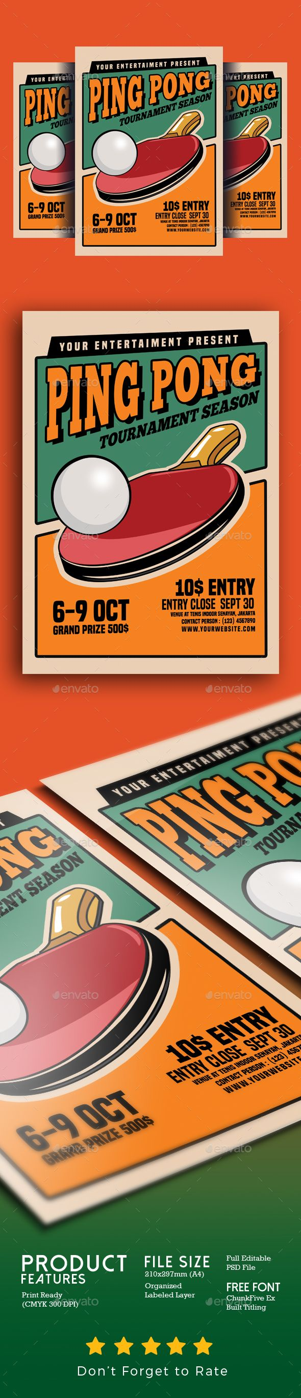 Ping Pong Tournament Flyer | Flyer template, Logos and Event flyers