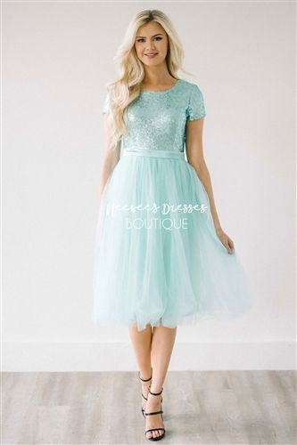 3292a2424bf81 Prima Ballerina Dress. Modest bridesmaids and modest prom dress. Mint  sequins with mint tulle skirt.