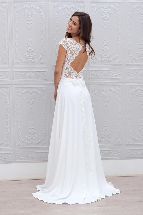 3e137074b15f A-Line Cap Sleeves Open Back Lace Chiffon Bridal Wedding Dresses ...
