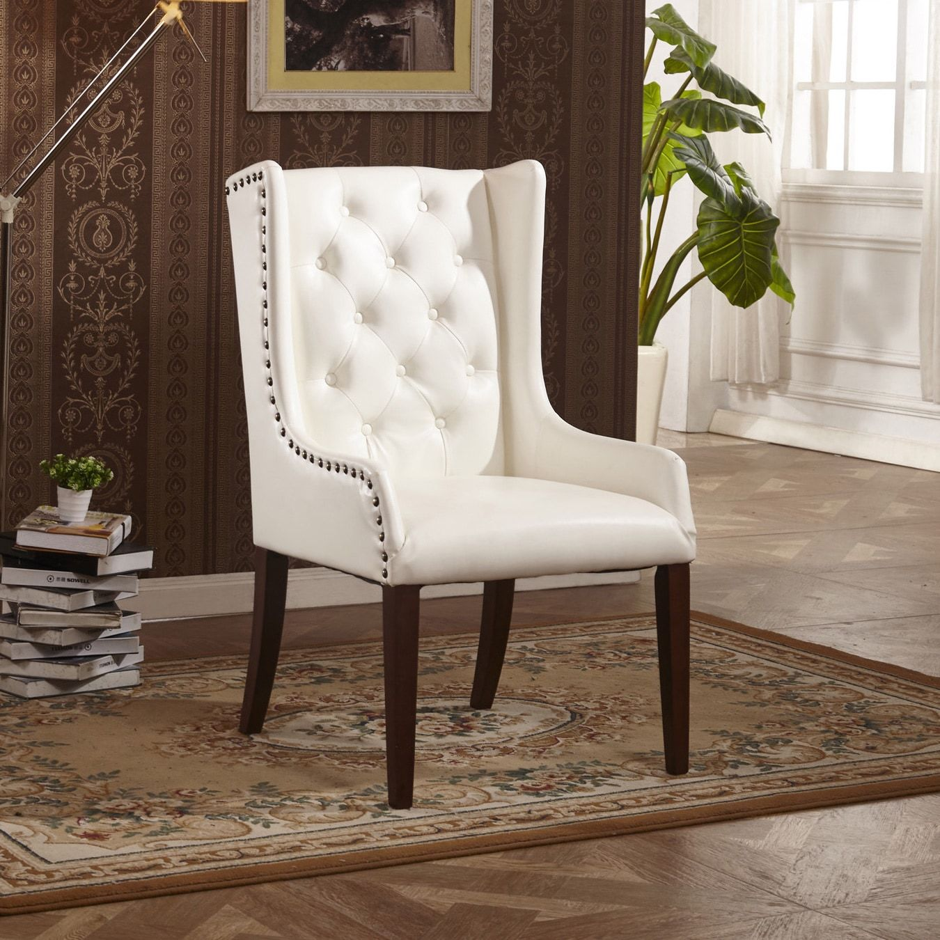 Usa classic faux leather sloped arm dining chair with pillow white