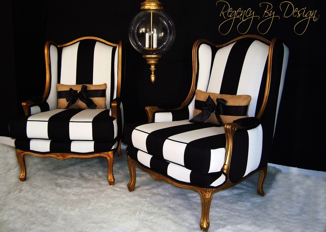 White And Gold Dining Chairs: Two Hand Gilted French Bergères Chairs, Done With An Aged