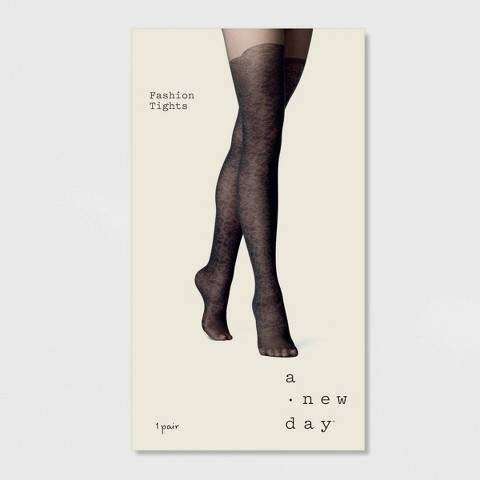 A New Day Womens Floral Faux Thigh High Tights Black