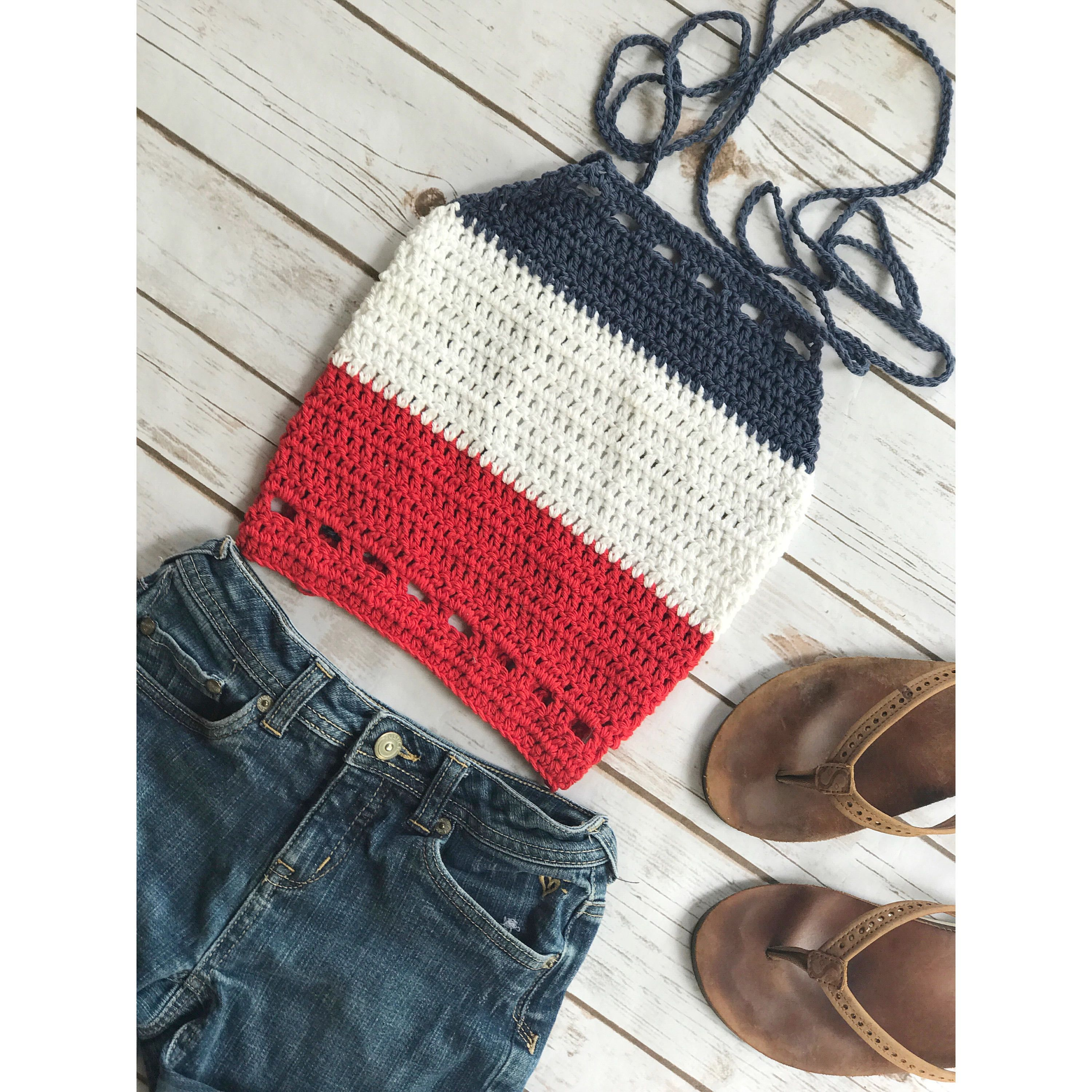 American Flag Crop Top, crochet Shirt, Stars and Stripes Tank, Red ...