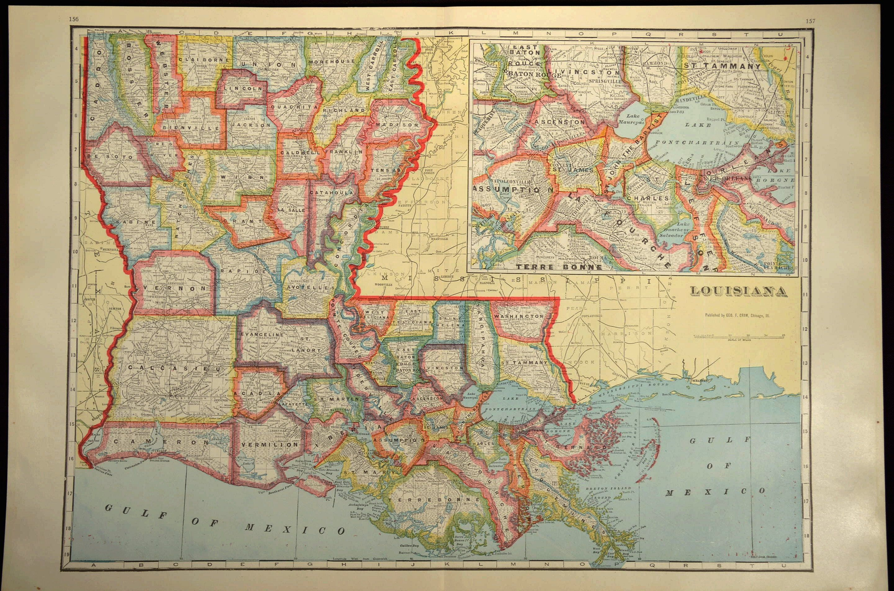 Louisiana County Map Louisiana LARGE Antique Colorful | Map Wall ...
