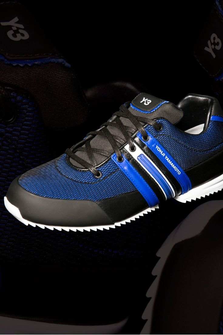 ca80fe662f2ef6 The Y-3 Sprint trainers combine classic adidas style with Yohji Yamamoto s  modern silhouette. Blue nylon uppers feature the traditional three stripe  logo to ...
