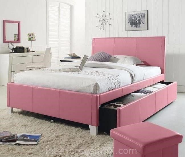 Fantasia Pink Upholstered Bed W Trundle Standard Furniture Full