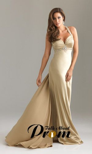 Gold Halter Beaded Long Prom Gown With Sweep Train TPD515 [TPD515] - $169.00 : TalkAboutProm, Cheap Prom Dresses 2011~2012 - Formal, Cocktail & Prom Gowns