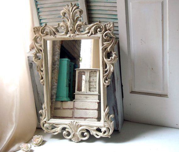 Antique White Vintage Ornate Mirror, Off White Large Mirror, Hollywood Regency Mirror, Light