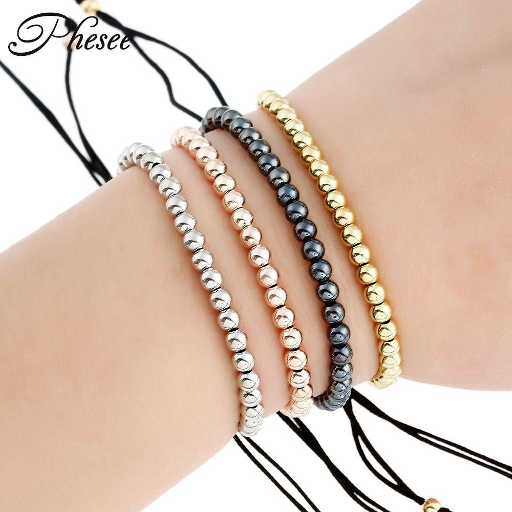 phesee new fashion black copper beaded bracelets braiding