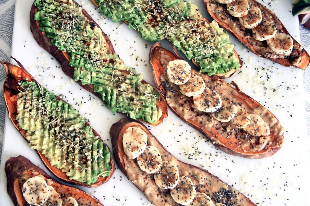 Ok, easiest healthy snack recipe ever. Here's what you'll need: 1 medium sweet potatoToppings:1 avocado 1 bananaNatural unsweetened peanut butterChia seedsHemp