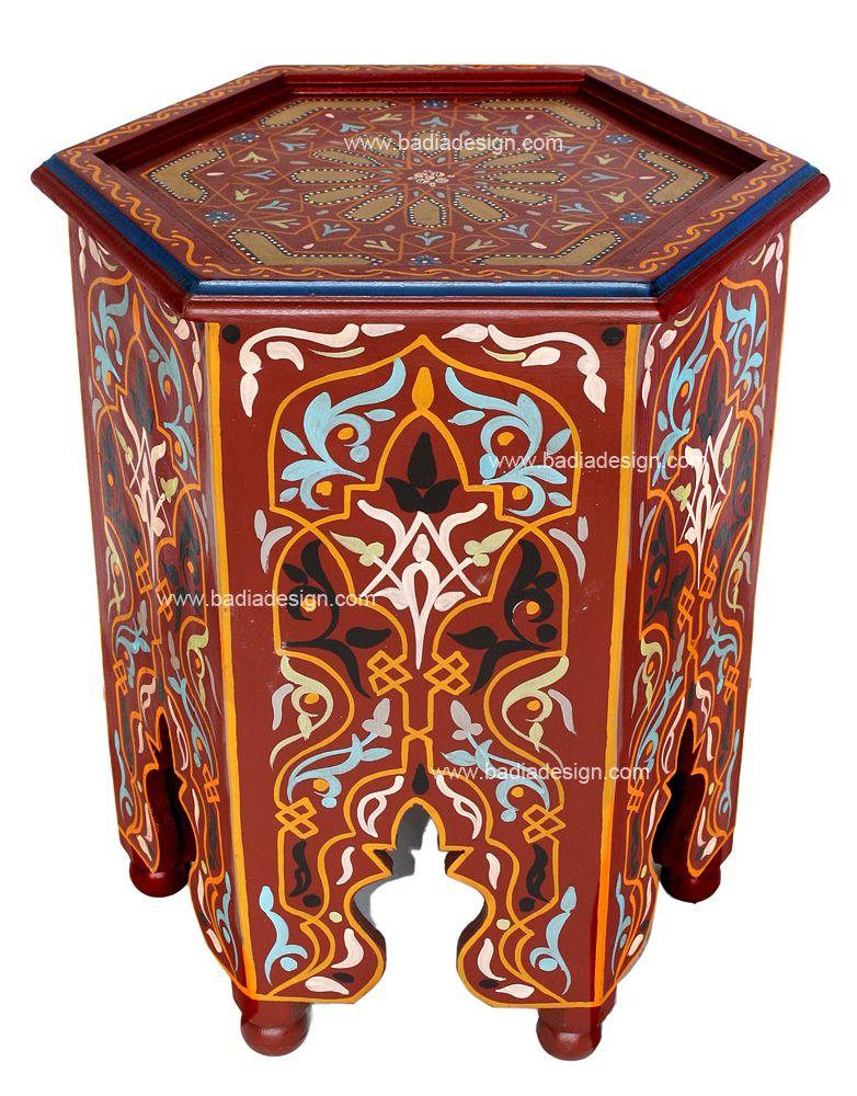 Hand Painted Moroccan Side Table   HP301, Www.badiadesign.com/hand