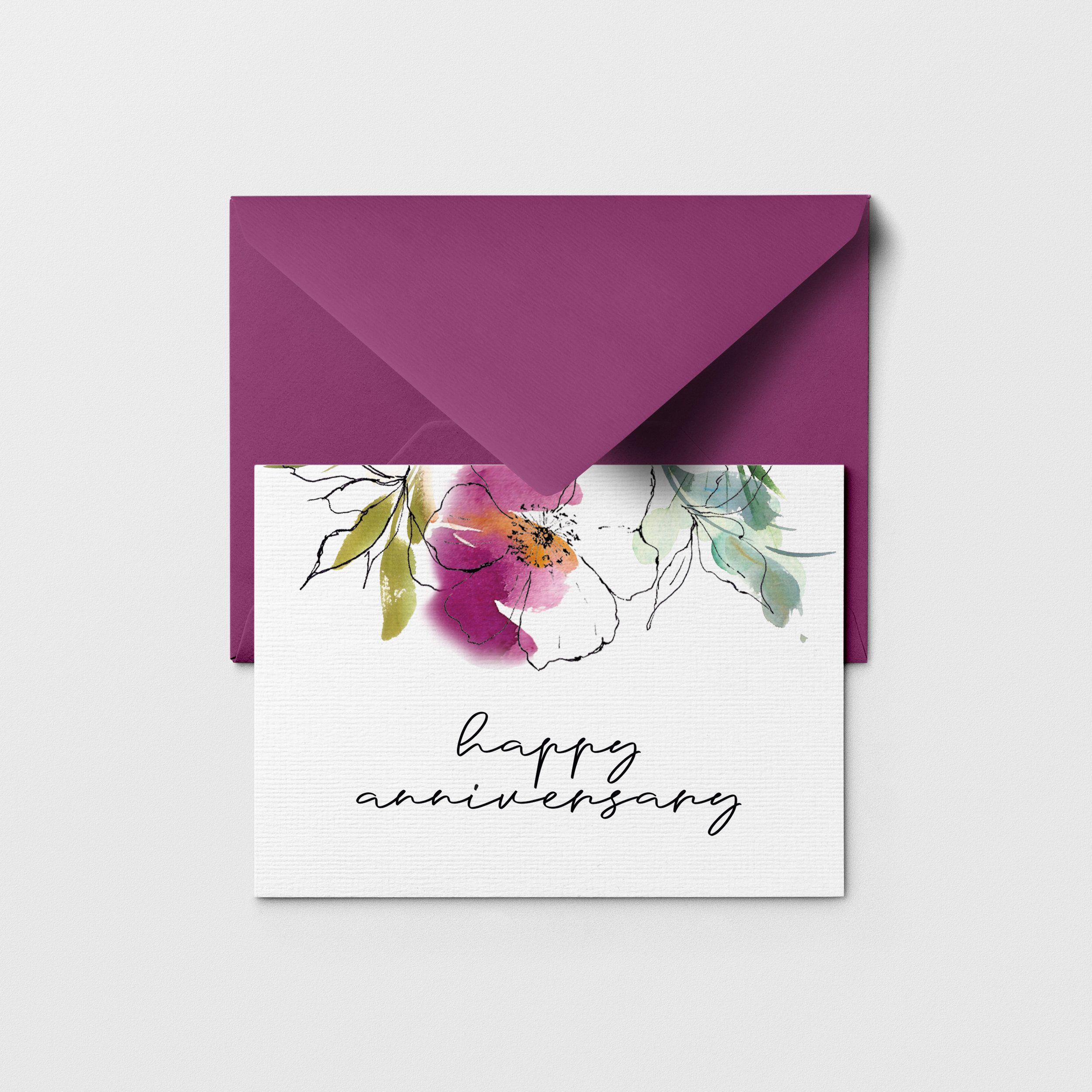 Printable Happy Anniversary Greeting Card Floral Happy Etsy Happy Anniversary Cards Watercolor Anniversary Card Anniversary Greeting Cards