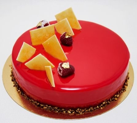 Entremet gla age miroir rouge glacage pinterest for Glacage miroir framboise