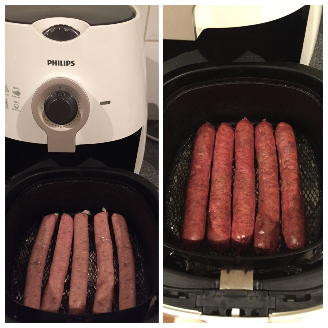 Philips Air Fryer Sausages Cooked At 180 Degrees For 15 Minutes Cold Air Fryer Pierce The Sausages With A Fork On On Airfryer Recepten Eten En Drinken Eten