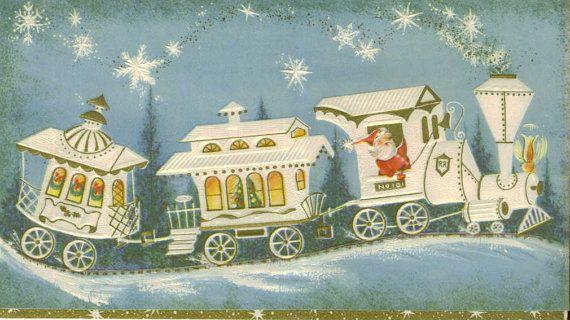 vintage Christmas card of Santa on a white choo choo train by TheVintageGreeting