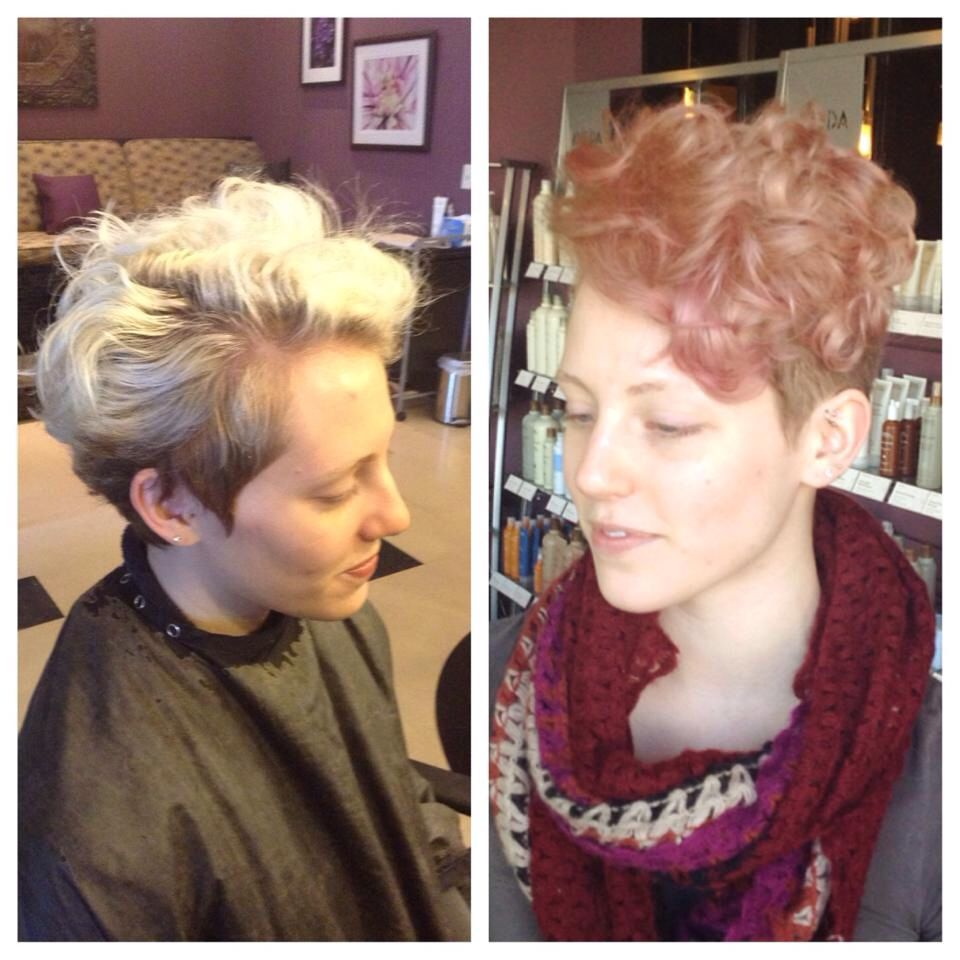 Rose Gold Undercut Pixie By Francie At Avantgarde Hair Color