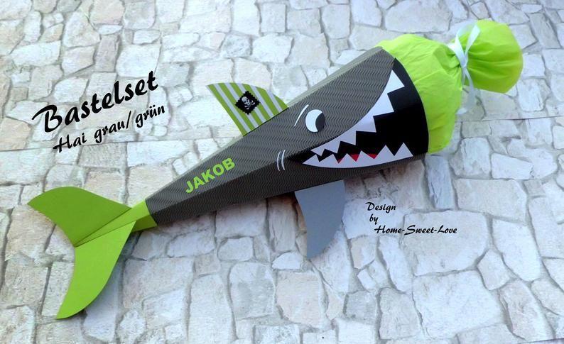 BASTELSET Shark School Bag, School Bag Boys, DIY in Grey-Green