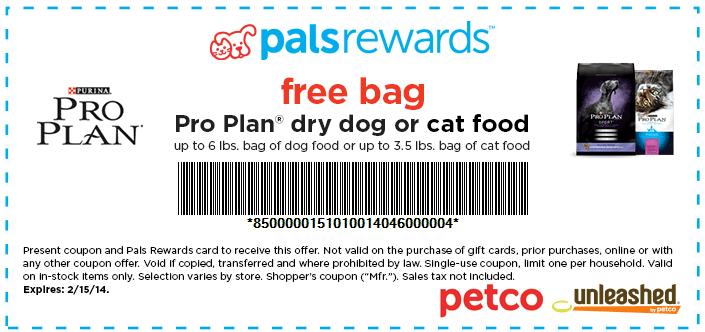 Petco Free Pro Plan Dry Food Printable Coupon Printable Coupons Free Bag Cat Food
