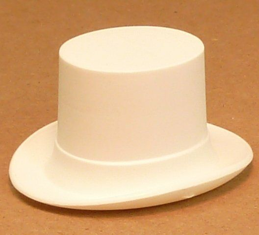 White Plastic Mini Top Hat German Imported Lots Of Other Sizes German Miniatures Vintage Miniatures Doll Accessories