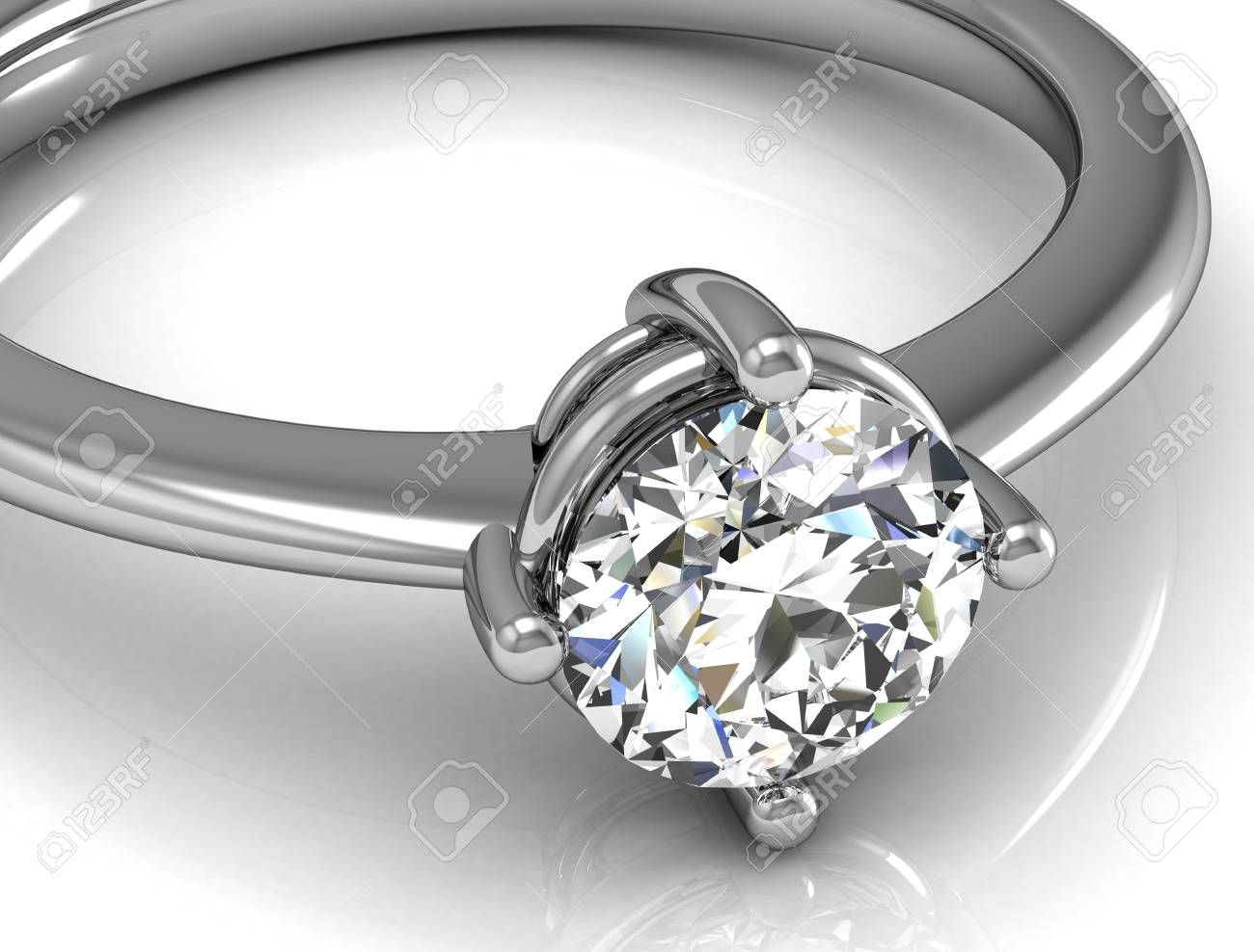 Jewellery ring on a white background high resolution 3D image