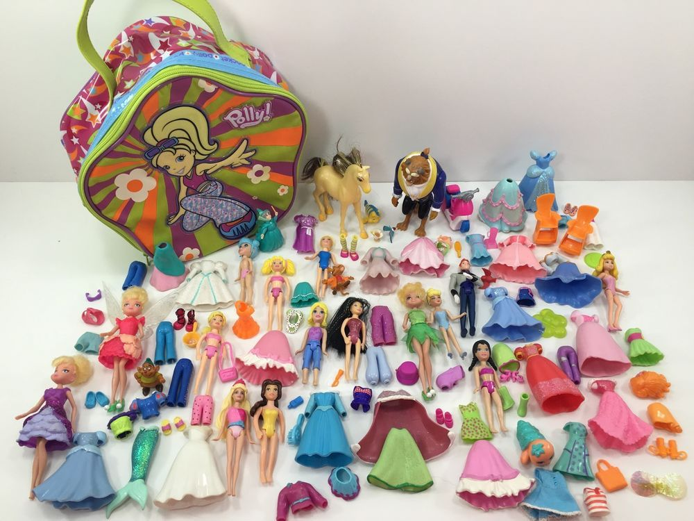 Polly Pocket Disney Princess Lot Dolls Shoes Clothes More