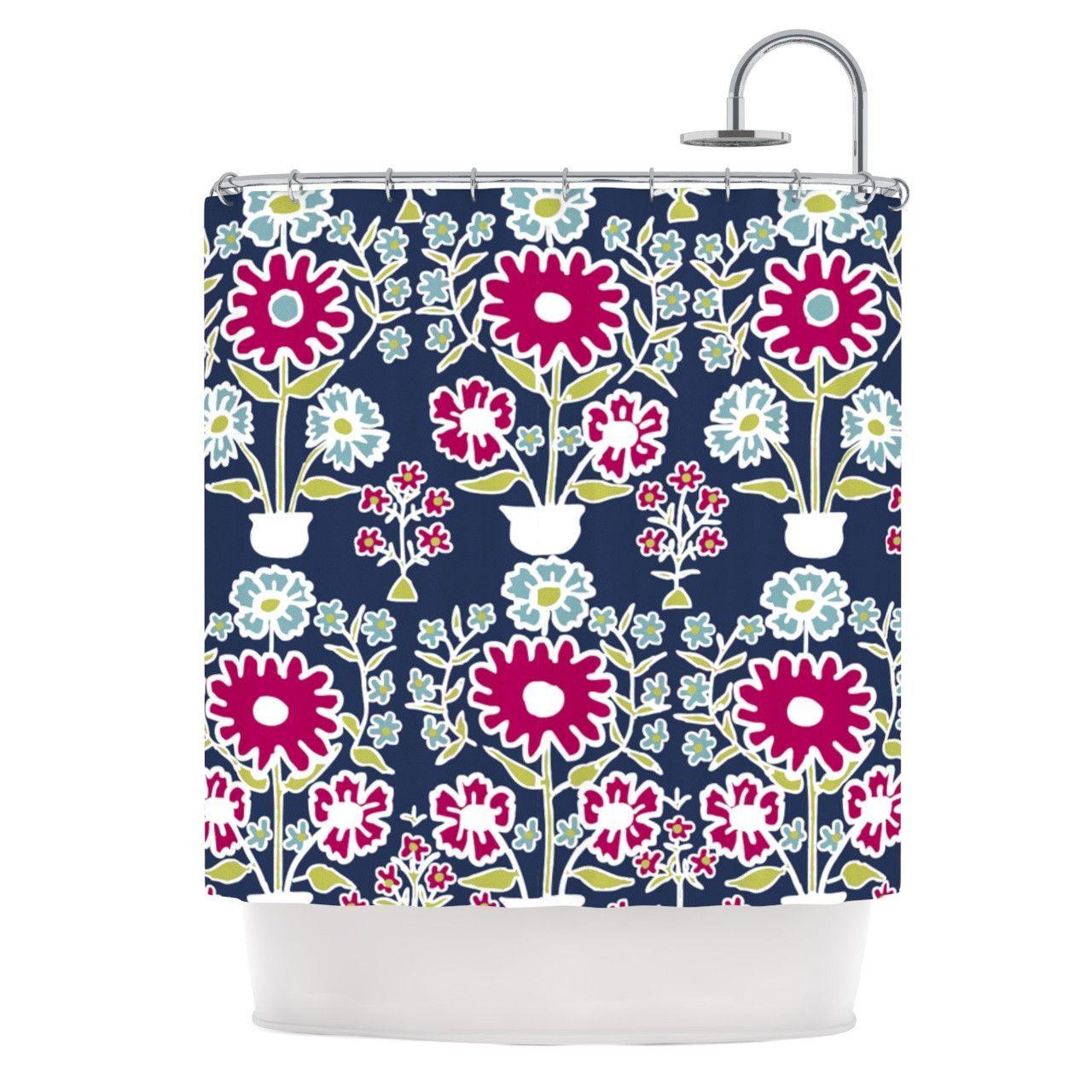 Laura Nicholson Turkish Vase Navy Magenta Shower Curtain From KESS InHouse