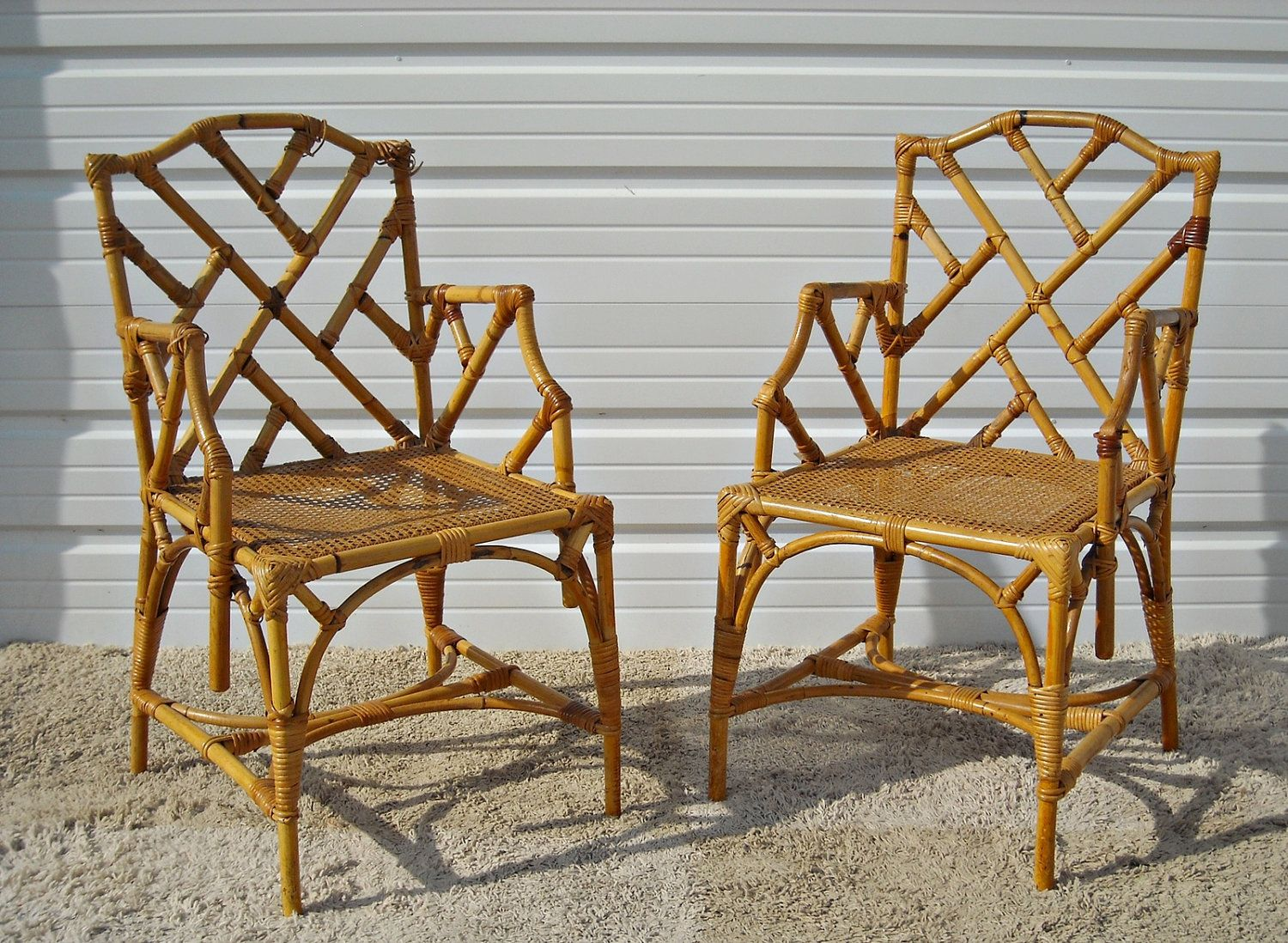 Vintage Chippendale Bamboo Rattan Chairs