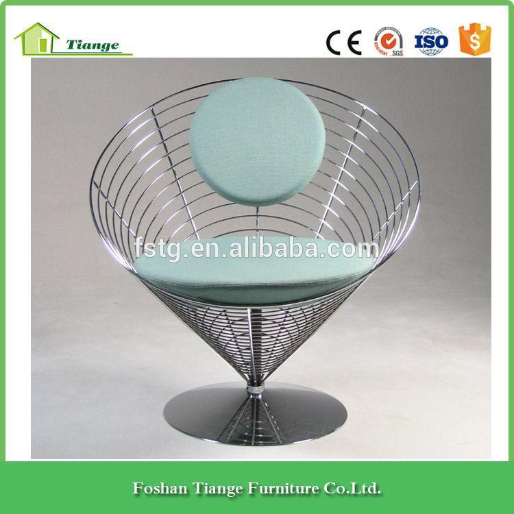 chromed steel and blue fabric upholstery silver wire cone chair ...