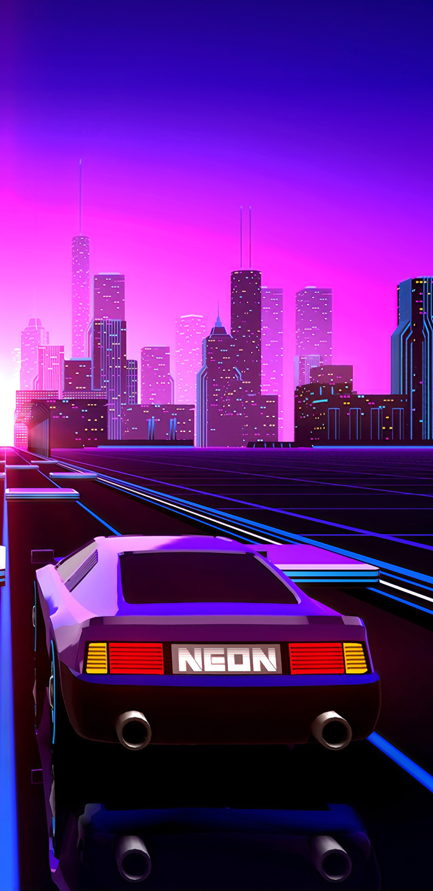 Way To Retrowave City In 1440x2960 Resolution Cool Wallpapers For Phones City Wallpaper Vaporwave Wallpaper