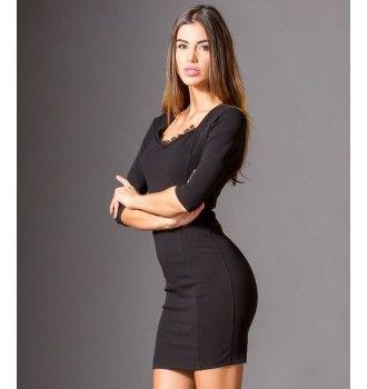 eb05819bc7b8 Midi Φόρεμα Κρεπ με Βε και Δαντελα - Μαύρο
