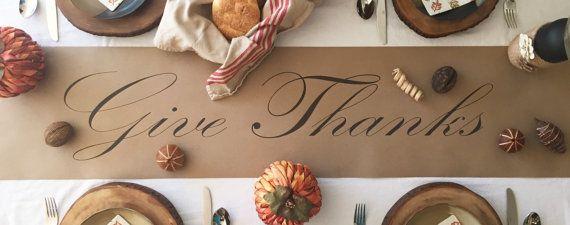 Thanksgiving Table Runner Kraft Paper Table Runner By Zoandjordan