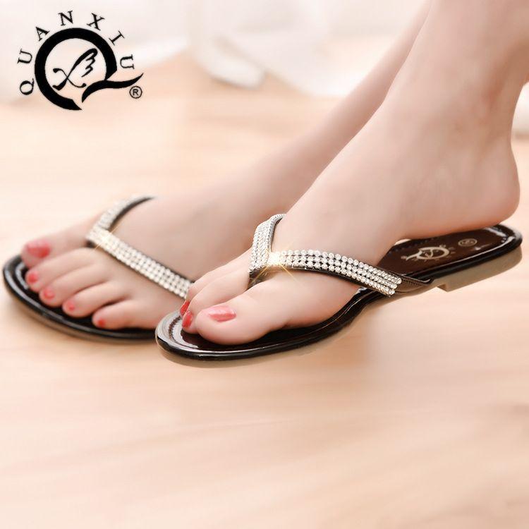Mode Flip Flops femmes sandales chaussures glissent sur le dos sangle plat  ameublement pour Lady SH129