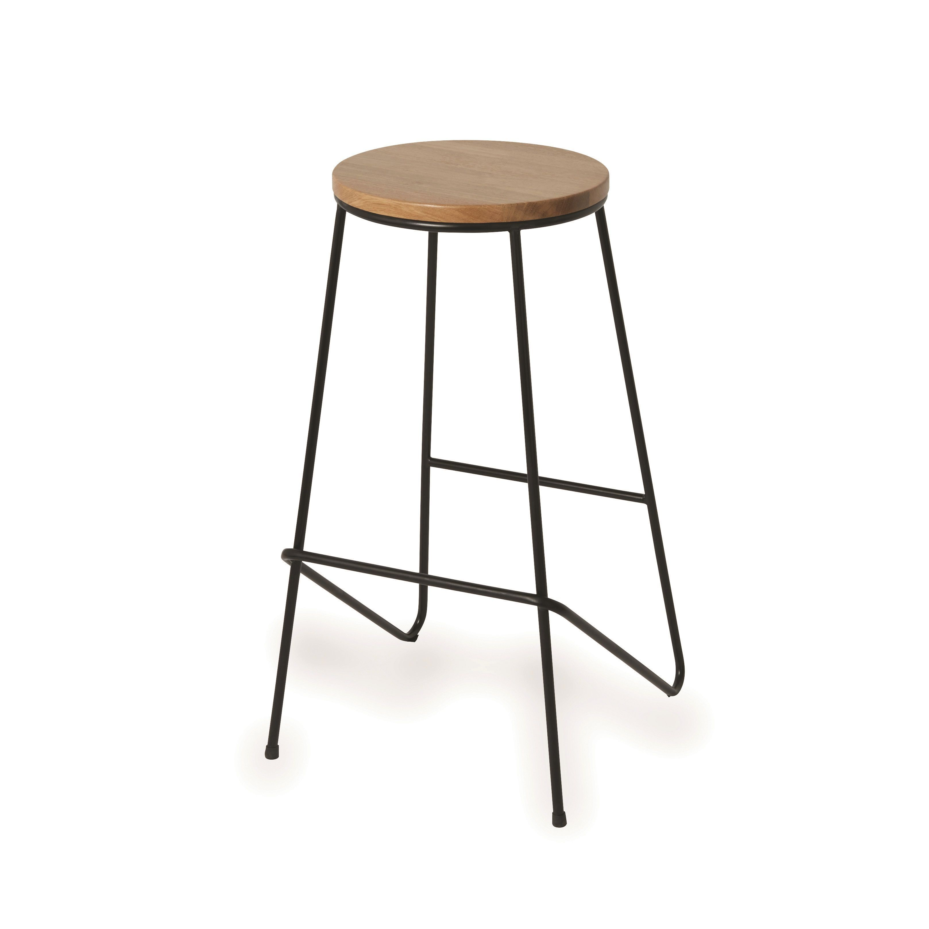 Maloux Black Bar Stool H 710mm W 400mm Departments Diy At