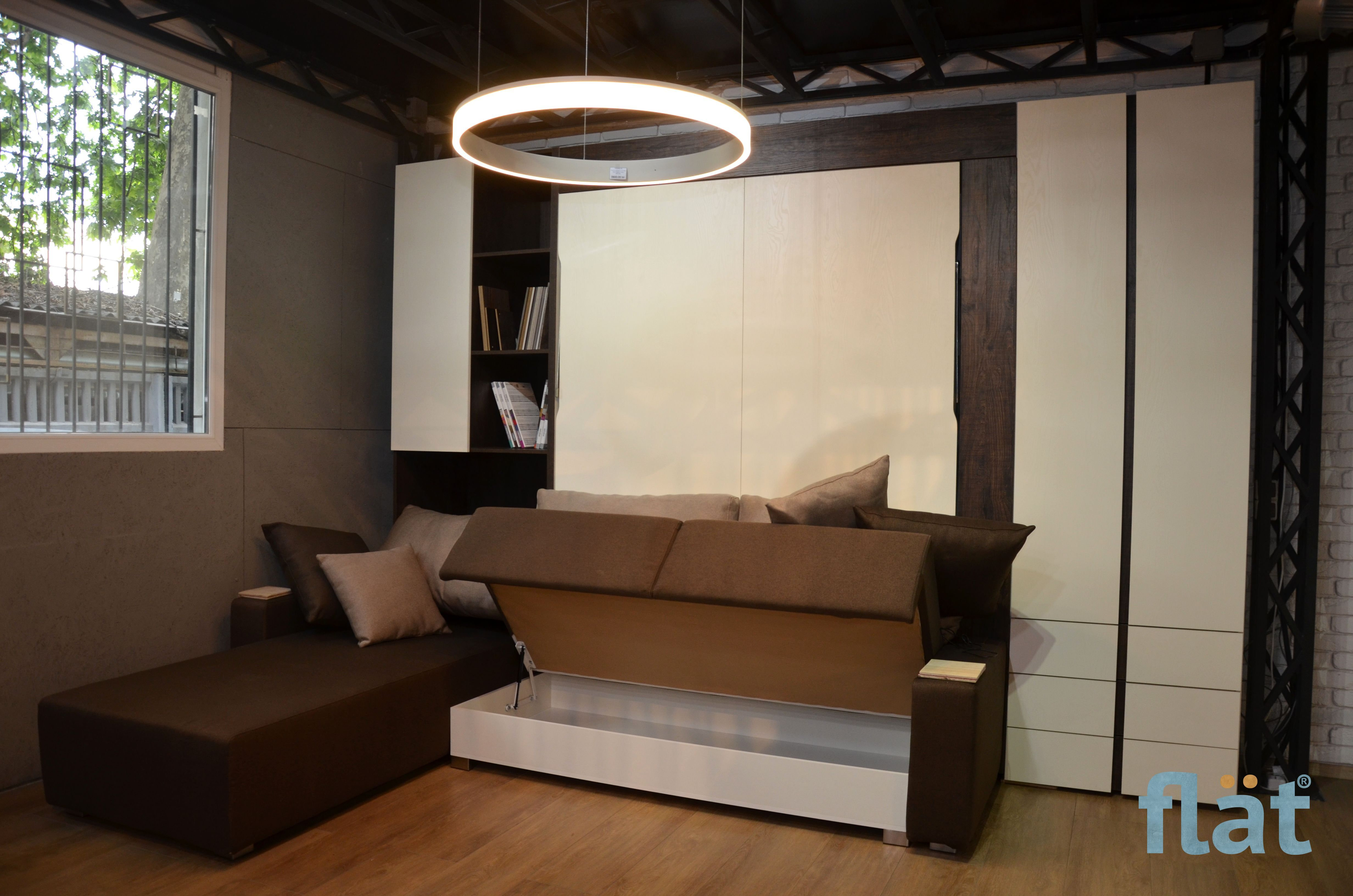 Double size wall bed with corner sofa. Шкаф кровать. Сет