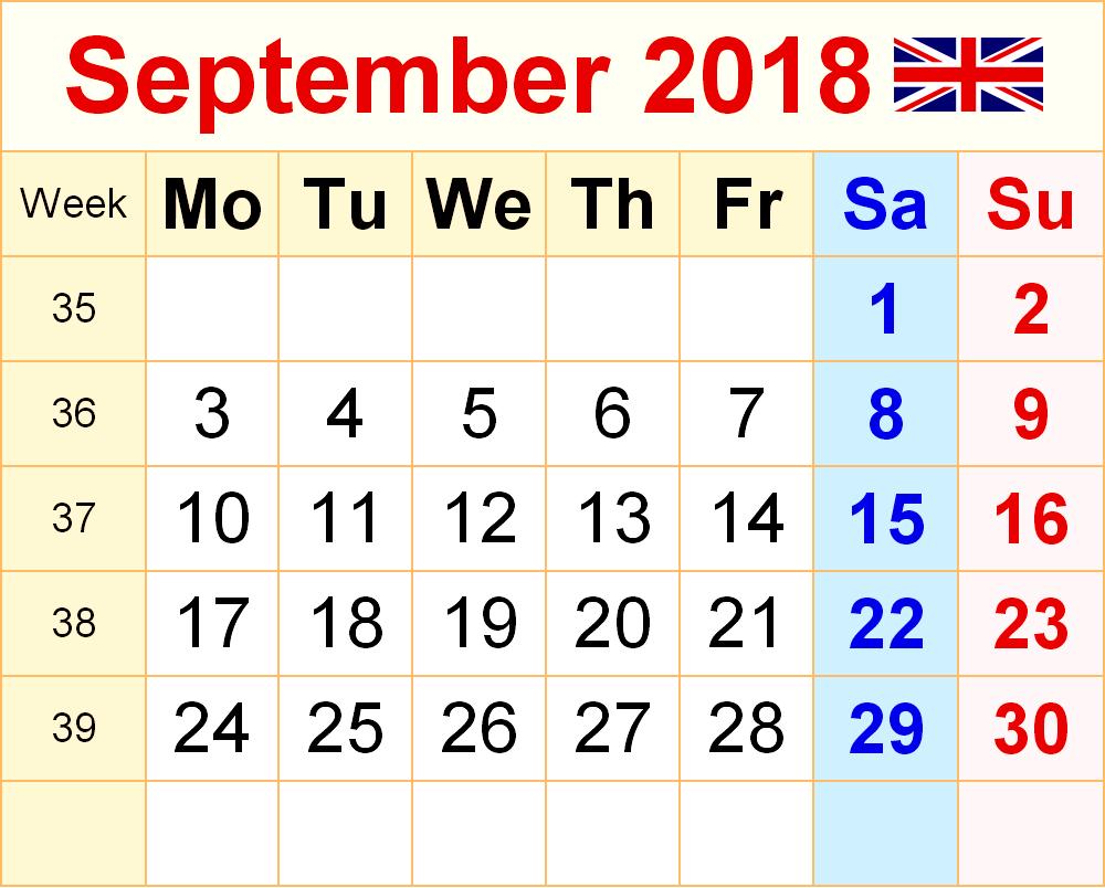 printable september 2018 calendar uk